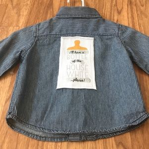 Baby Bottle Slogan Upcycled Button Down Shirt